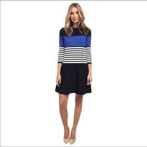 Kate Spade Scuba Striped Dress Blue Sz Small